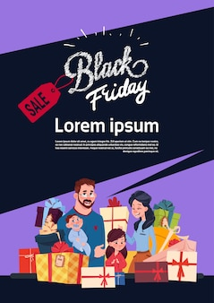 Black friday sale poster with happy family over gift boxes stack, holiday shopping discounts banner