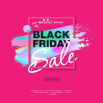 Black friday sale poster with holographic brush stroke