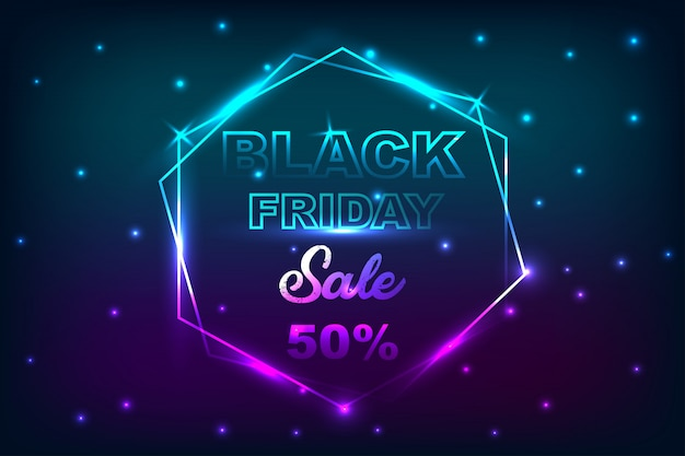 Black friday sale poster with neon banner background.