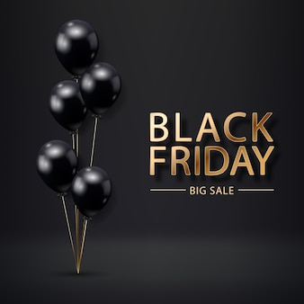 Black friday sale poster with realistic balloons on black background. black friday sale label. design element for banners, flyers, cards