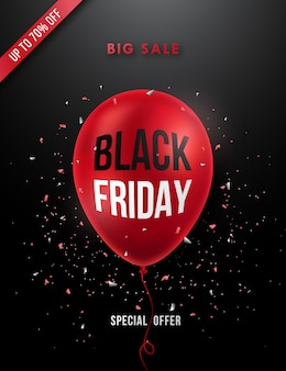 Black friday sale poster with realistic red balloon.