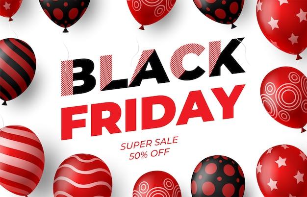 빨간색과 검은 색 광택 풍선과 함께 검은 금요일 판매 포스터