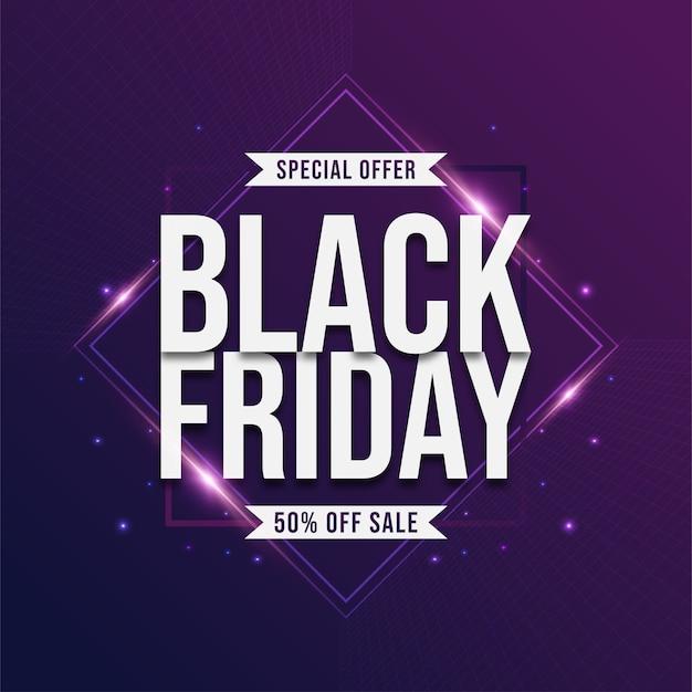 Черная пятница распродажа плакат с ярким светом на фиолетовом фоне