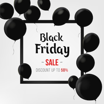 Black friday sale poster with shiny balloons on black background with square frame. sale banner template design. discount offer price label, symbol for advertising campaign in retail, promo marketing.