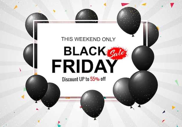 Black friday sale poster with shiny balloons and confetti