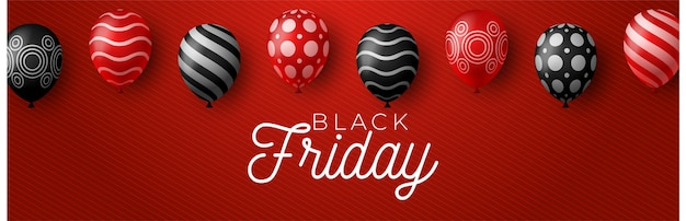 Черная пятница распродажа плакат с блестящими шарами на красном фоне