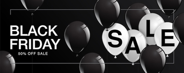 Black friday sale poster with shiny balloons