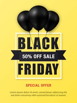 Black friday sale poster with shiny black balloons
