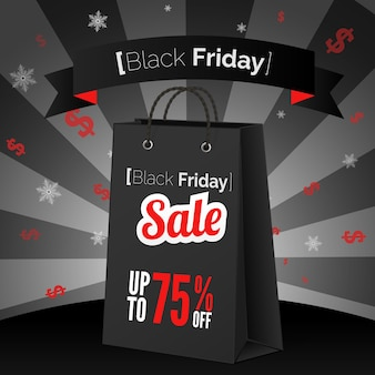 Black friday sale poster with shopping bag and ribbon