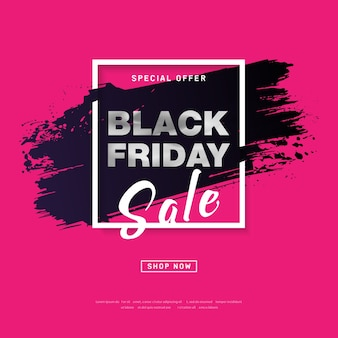Black friday sale poster with silver text on grunge brush stroke