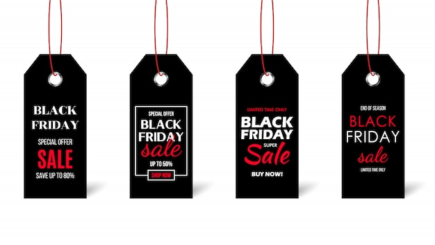 Black friday sale price tags.