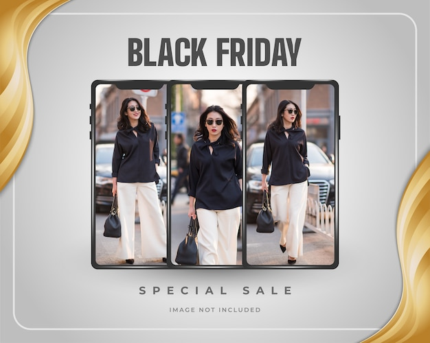Black friday sale promotion banner or poster with smartphone and gold frame