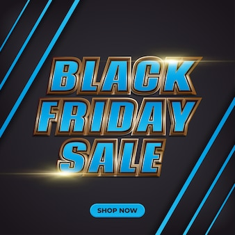 Black friday sale promotion banner with 3d blue text and gold light