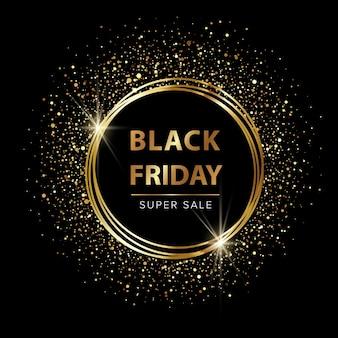 Black friday sale promotion banner with golden glitter