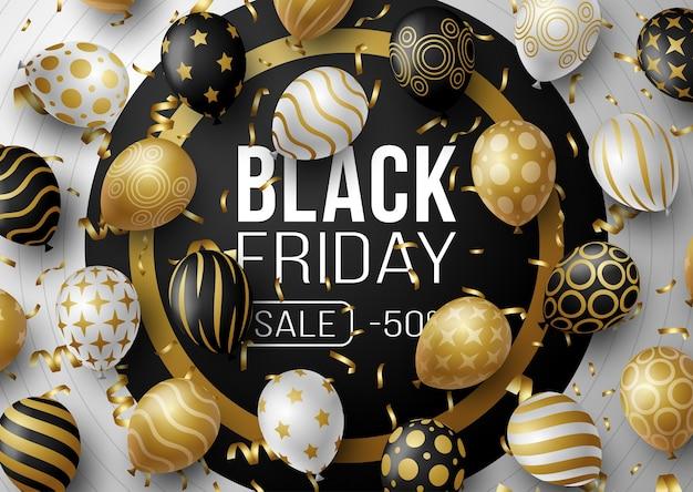 Черная пятница продажа рекламный плакат или баннер с воздушными шарами. специальное предложение со скидкой 50% в черно-золотом стиле. шаблон продвижения и шоппинга к черной пятнице