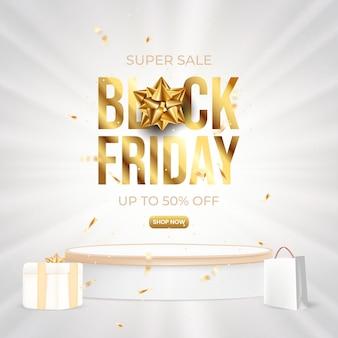 Black friday sale promotion with podium