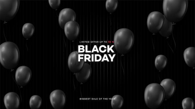 Черная пятница. реалистичный фон, летающие воздушные шары. черная пятница баннер.