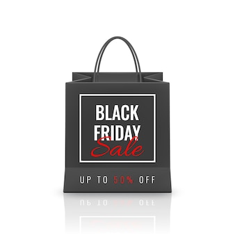 Black friday sale. realistic paper shopping bag with handles isolated on white background.