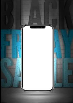 ブラックフライデーセール現実的なベクトルバナーテンプレート。灰色のレンガの壁の背景に空の画面で3dスマートフォンのモックアップ。エレクトロニクス、ガジェット割引オファー広告ポスターデザインレイアウト