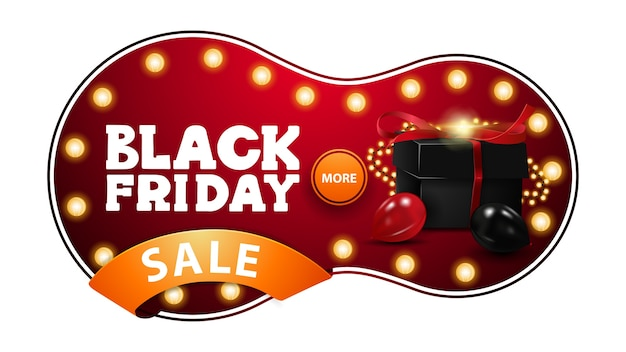 Black friday sale, red discount banner in abstract liquid shape with light bulbs, circle button and orange ribbon with offer