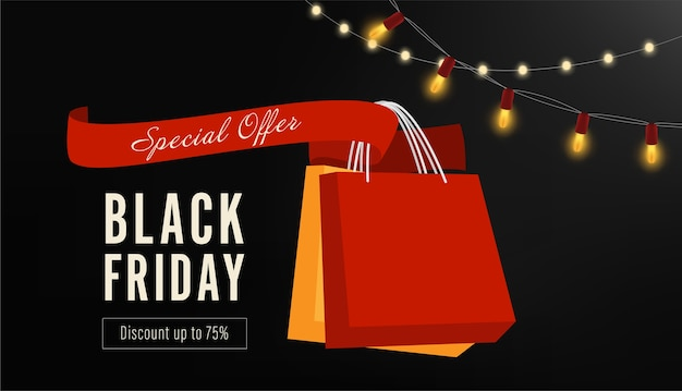 Black friday sale ribbon and banner.
