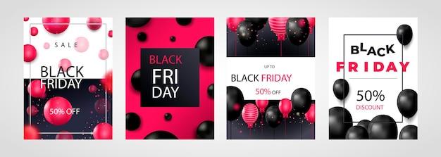 블랙 프라이데이 세일 포스터 또는 전단지 디자인에는 풍선과 색종이 조각이 있습니다.