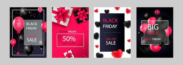 Black friday sale set of posters or flyers design with balloons and confetti