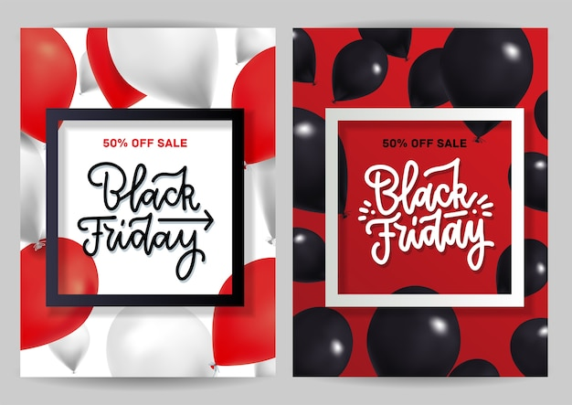 Black friday sale  set with creative bright realistic balloons. vertical banner with square frame and lettering text.