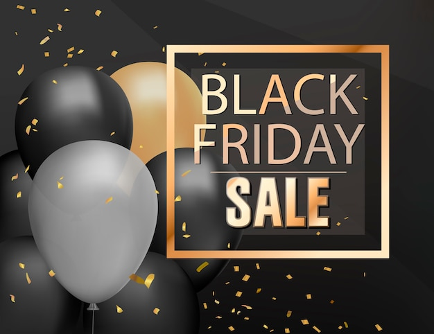 Black friday sale shop background with helium balloon shine bunch and golden confetti, sale poster, realistic black discount banner template.