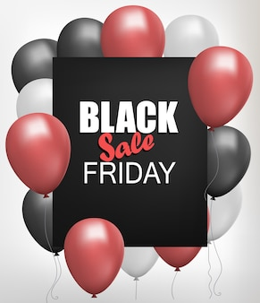 Black friday sale shop flyer, background with helium balloon bunch sale poster, realistic discount banner template.