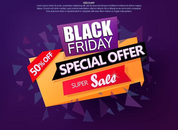 Black friday sale shop flyer, paper banner, sale poster background, realistic discount banner template. vector