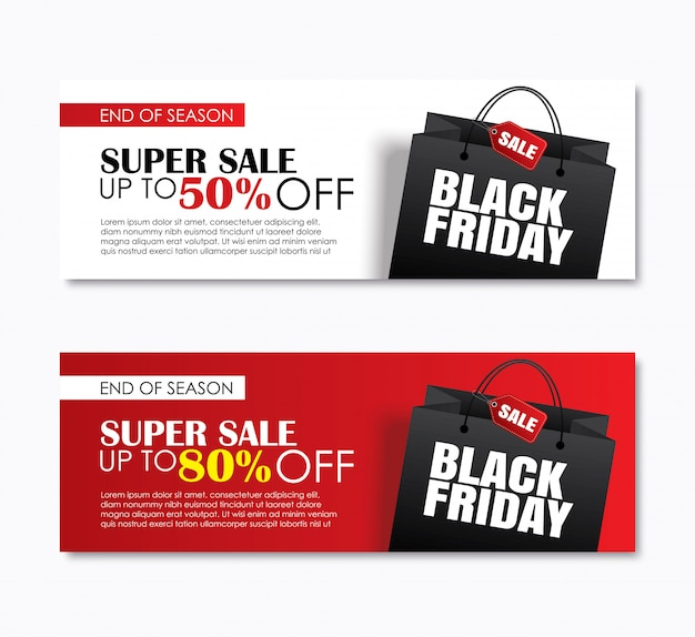 Black friday sale shopping bag cover and web banner.