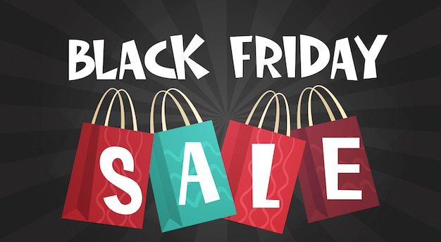 Black friday sale over shopping bags