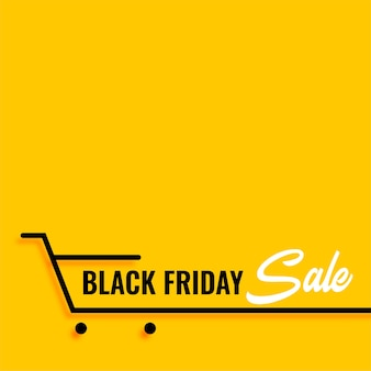 Black friday sale shopping cart yellow background