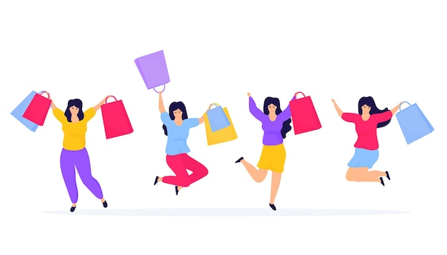 Black friday sale. shopping girls jumping and rejoicing