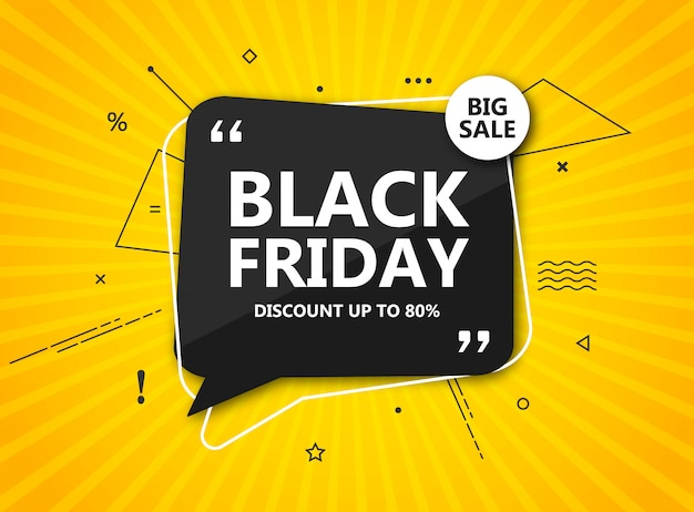 ブラックフライデーセール、ショッピングポスター。季節割引バナー-放射状の黄色の背景に黒い吹き出し。広告、ショッピング、チラシ、感謝祭の見切りのデザインテンプレート