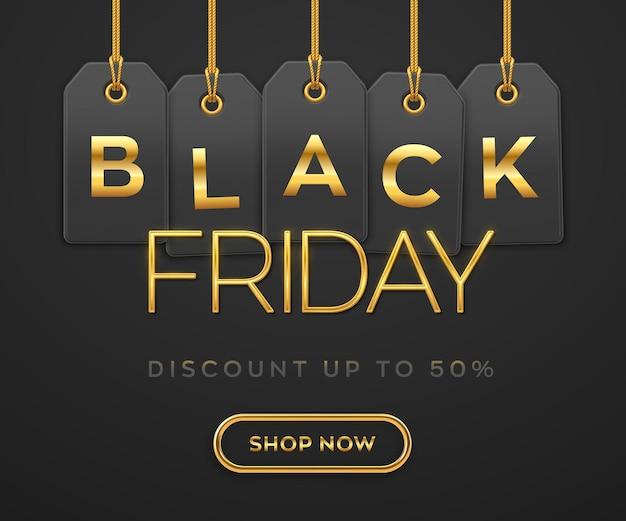 검은 금요일 판매, 쇼핑 프로모션 배너입니다. 검은색 바탕에 장식을 위한 블랙 프라이데이 할인을 위한 황금 글자가 있는 금줄에 매달려 있는 가격표 쿠폰. 현실적인 벡터 일러스트 레이 션.