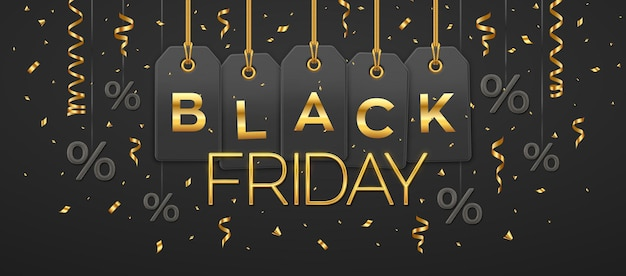 Black friday sale, shopping promotion. price tag coupons hanging on gold ropes with golden letters and percent symbol for black friday discount for decoration on black background. vector illustration.