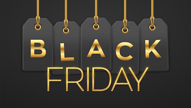 ブラックフライデーセール、ショッピングプロモーション。黒の背景の装飾のためのブラックフライデー割引のための金色の文字で金のロープにぶら下がっている値札クーポン。現実的なベクトルイラスト。