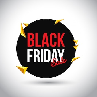 Black friday sale. simple typography in black circle on white background