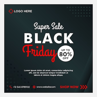Black friday sale social media banner template with black   gradient style