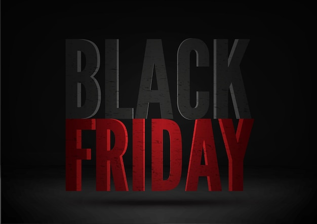 Black friday sale social media post template. uppercase font inscription floating in air on black background. 3d letters with grunge texture. seasonal clearance, mega discounts poster design layout