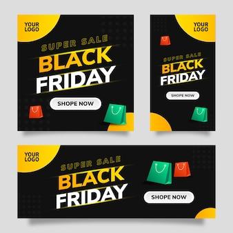 검은 금요일 판매 소셜 미디어 템플릿 플라이어 배너 검정색 배경 및 노란색, 녹색 및 빨간색 그라디언트 요소