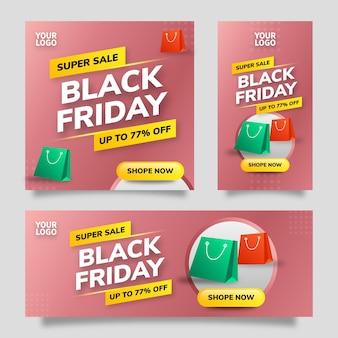 검은 금요일 판매 소셜 미디어 템플릿 플라이어 배너 빨간색 그라데이션 배경과 노란색, 녹색 및 빨간색 그라데이션 요소