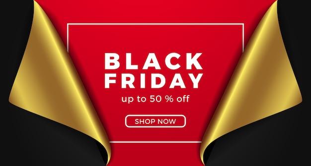 Черная пятница распродажа специальное предложение скидка баннер с 3d бумажным подарком с золотым и красным цветом.
