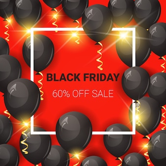 Black friday sale square banner with air balloons