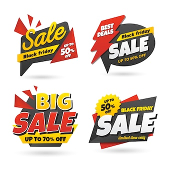 Black friday sale sticker banner set