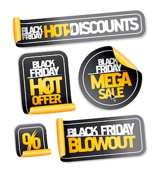 Black friday sale stickers set - hot discounts, mega sale, hot offer, blowout