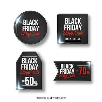 Set di adesivi neri di vendita del venerdì