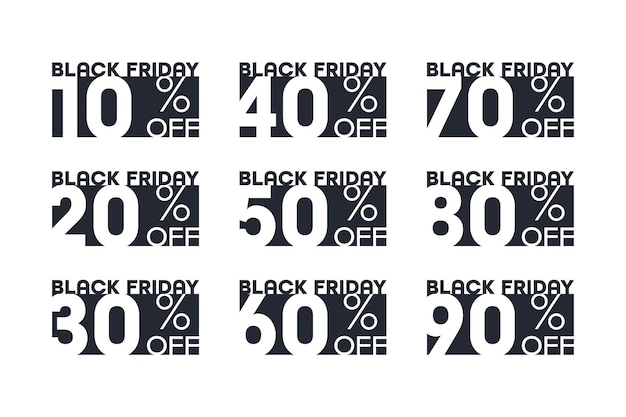 Black friday sale stickers with percent discount offer typographic design template set isolated on white background. new lower prices sale off 10, 20, 30, 40, 50, 60, 70, 80, 90 percentage